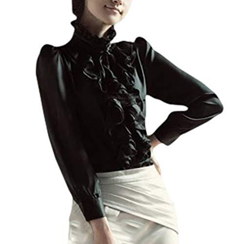 Vintage Manga Larga Camisetas con Volantes para Mujer Elegante Color Sólido Slim Fit Blusa Mujeres Casual Trabajo Blusa Camisa Streetwear para Primavera Otoño