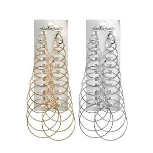 24 Paar Damen Mädchen Creolen Piercing Ohrreifen Metall Ohrring Set Silber Gold