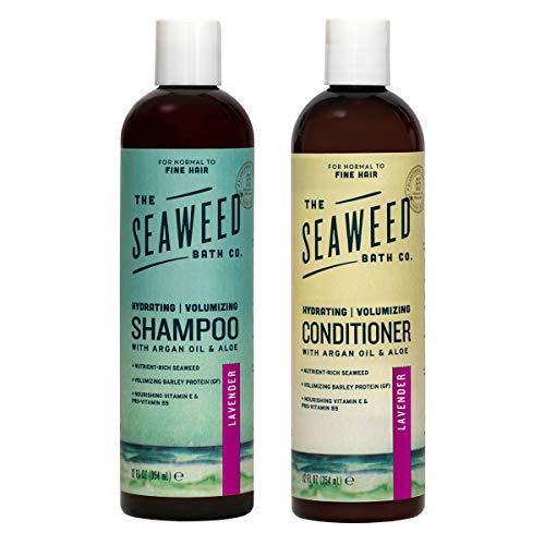 The Seaweed Bath Co. Hydrating Volumizing Shampoo & Conditioner, Lavender, With Organic Bladderwrack Seaweed, Vegan, Paraben Free, 2x12oz