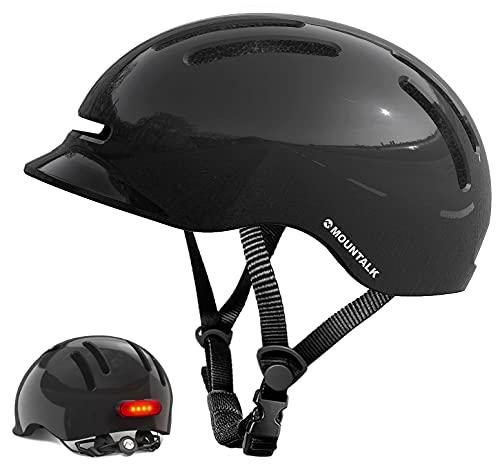 Mountalk Adult Bike Helmet with Light, Mens/Women Cool Bicycle Helmets with Magnetic Rear LED Light (Shiny Black,L)