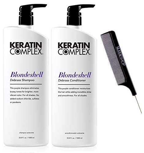 Keratin Complex BLONDESHELL DEBRASS & BRIGHTEN Shampoo & Conditioner DUO SET (Stylist Kit) Violet Purple Shampoo for Yellow, Blonde, Silver, Brassy Hair (LARGE DUO - 33.8 oz / 1000 ml)