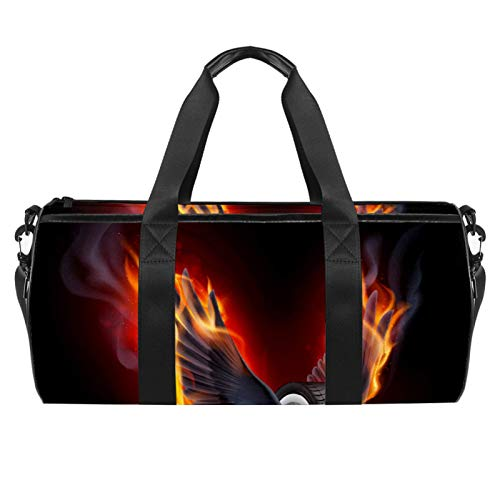 Wheel With Fire Wings Sports Gym Bag Cylindrical Travel Duffel bag with Wet Pocket Lightweight workout bag Travel with Shoulder Strap for men women
