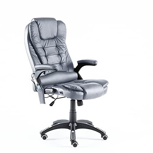 Neo Executive - Silla reclinable de piel sintética para juegos de escritorio de oficina y masaje (gris)
