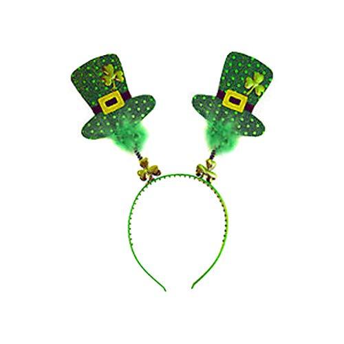 Cuteelf St. Patricks Day Green Irish Hut für Erwachsene Shamrock Velvet Top Hat für Männer & Frauen Irish Pailletten Hut Kopf Schnalle Patrick's Day Hut Halskette