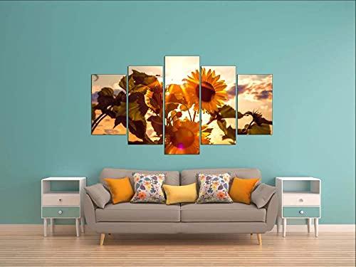 KOPASD Art Impresión Lienzo,Tamaño Grande, Sol de Girasol -200x100cm Diseño Profesiona/5pcs(Sin Marco)