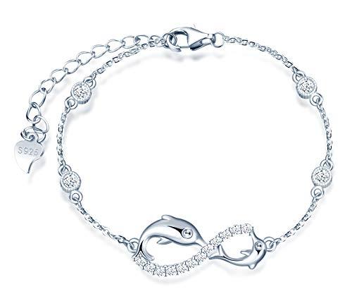 INFINIONLY Pulsera para mujer, juegos de joyas de plata esterlina 925, pulsera símbolo de infinito y delfín lindo, incrustación de zirconia, plata, Regalos de cumpleaños y Navidad