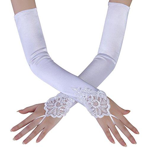BABEYOND Damen Handschuhe Satin Classic Opera Fest Party Audrey Hepburn Handschuhe 1920er Stil Handschuhe Elastisch Erwachsene Größe Ellenbogen bis Handgelenk Länge 52/55cm (Spitze 45cm / Weiß)