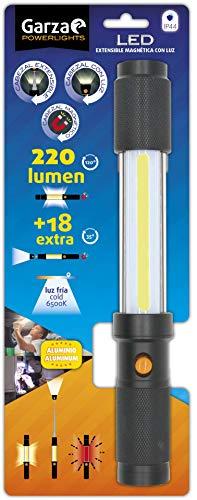 Garza - Linterna LED De Aluminio Con Cabezal Extensible Magnético y con Luz ideal para el trabajo, coche o emergencias