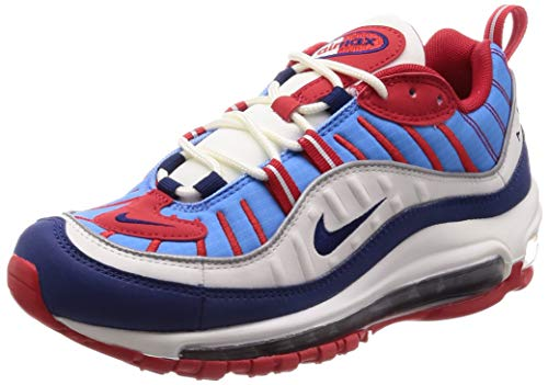 Nike W Air MAX 98, Zapatillas de Atletismo para Mujer, Multicolor (Summit White/Blue Void/University Red 112), 38 EU