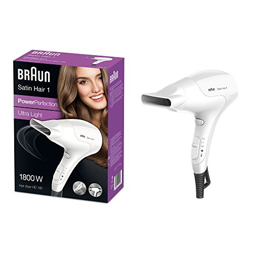 Braun Satin Hair HD 180 - Secador de pelo (17,8 cm, 8,6 cm, 24,2 cm, 3,83 kg, 541 x 194 x 271 mm) Color blanco