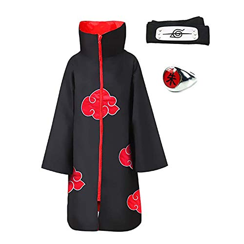 Deciduous 3 stücke Anime Cosplay Akatsuki Cloak Kostüm mit Stirnband und Ring Itachi Set für Kinder Erwachsene Party Karneval Rollenspiele Outfits Halloween Uniform Mantel,135