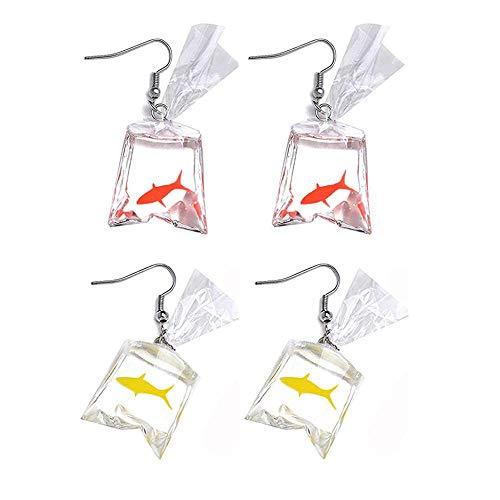 Iwinna Funny Goldfish Earrings, Water Bag Shape Dangle Hook Earrings Charm Jewelry Gift Earrings for Women Girls- 2 Pairs (One Red& One Yellow)