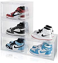 SEE SPRING Shoe Storage Boxes Clear Stackable Sneaker Display Boxes Sneaker Cases for Sneakerheads Shoe Organizers Fit up to Size 13.5 Containers Pack of 4