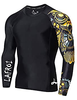 LAFROI Men s Long Sleeve UPF 50+ Baselayer Skins Performance Fit Compression Rash Guard-CLYYB Asym Time Manager Size XXXL