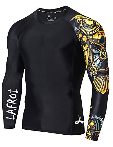 LAFROI Men's Long Sleeve UPF 50+ Baselayer Skins Performance Fit Compression Rash Guard-CLYYB Asym Time Manager Size XL