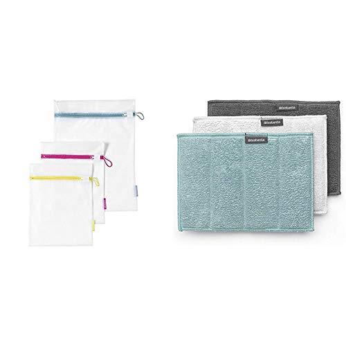 Brabantia - 105388 - Filet à Linge - Plastique - Blanc - Lot de 3 & 117725 - Éponges en microfibre (kit de 3), Multi - 16 x 22 cm