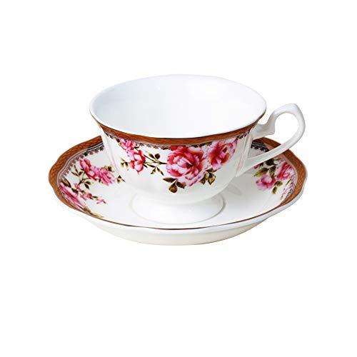 Taza de porcelana, taza de té de porcelana inglesa con ceniza de hus, con platillo, juego de café lavable en lavavajillas – 210 ml