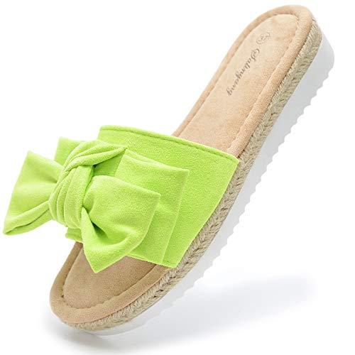 Vain Secrets Damen Slides Sandalen Sommer Schuhe Slipper Samt Bast mit Schleife Neon (Grün, Numeric_39)