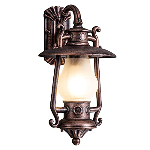 GZBtech Rustic Lantern Wall Sconce Outdoor, Waterproof Oil Rubbed Bronze Exterior Small Wall Lamp, 110V Vintage Kerosene Wall Mounted Lighting Fixture with Frosted Shade for Garage Front Door Home