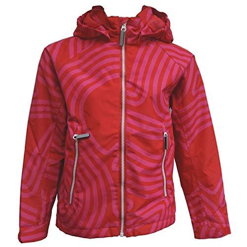 Outburst - Mädchen Regenjacke Winddicht und Wasserdicht 10.000mm Wassersäule rot Geringelt, rot - 6817114, Größe 98