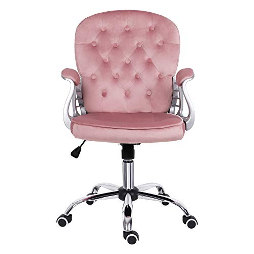 Desk chair for Home,Velvet Pink Home Office Chair with Armrest Ergonomic Mid Back Computer Chair Comfy Padded Swivel Chair with Rocking Function