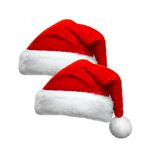 Santa Hat,2 Pack Christmas Hat, Xmas Holiday Hat for Adults & Kids, Extra Thicken Classic Fur Velvet Comfort Costume Hat for 2020 Christmas New Year Festive Holiday Party Supplies (2 PACK)