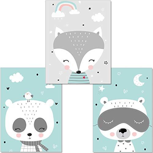 artpin® Juego de 3 pósteres para habitación de niños - Decoración para Dormitorio - Estilo escandinavo, A4 imágenes para niña niño