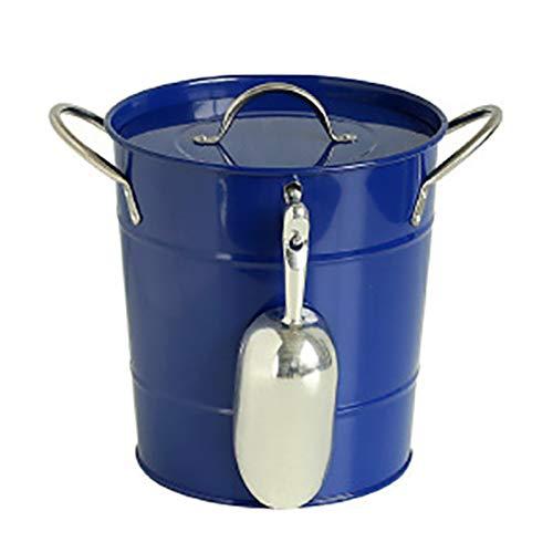 HANTURE Cubo de hielo de metal galvanizado de 3,4 litros con tapa y cucharón de hielo cubo de hielo de doble pared para fiestas, barbacoas de patio, picnic, camping y uso en barra al aire libre