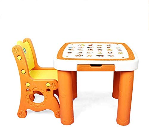Kinder Schreibtisch Sets Tisch Stuhl for Kinder Speicher Letter-Muster Spielraum Kindergarten Starke Tragfähigkeit, geringes Gewicht Kindersitz (Color : A)
