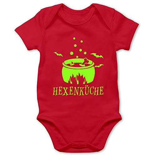 Shirtracer Halloween Baby - Hexenküche - 6/12 Monate - Rot - Topf - BZ10 - Baby Body Kurzarm für Jungen und Mädchen