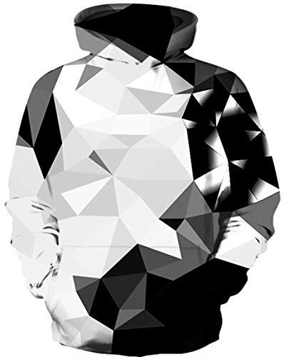 Ocean Plus Jungen Langarm Galaxis Kapuzenpullover Bunt Casual Sweatshirts Pullover mit Kapuzen Pulli für Kinder Hoodie (S/M (Erwachsenengröße: 165-175cm), Schwarzer Kristall)