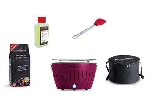 LotusGrill Barbecue Kit de démarrage 1x Lotus Barbecue Charbon de Bois de hêtre/Prune/Mauve 1x 1kg, 1x Pâte Combustible 200ml, 1x Pinceau Feu Rouge, 1x Sac de Transport