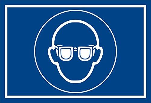 Stickers schild - Bodstekens - oogbescherming gebruiken - komt overeen met DIN ISO 7010/ASR A1.3 – S00361-007-E +++ verkrijgbaar in 20 varianten. 30x20cm - Hartschaumplatte - ohne Bohrlöcher