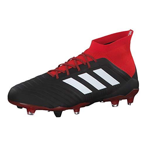 Adidas Predator 18.1 FG, Botas de fútbol Hombre, Negro (Negbás/Ftwbla/Rojo 001), 41 1/3 EU 🔥