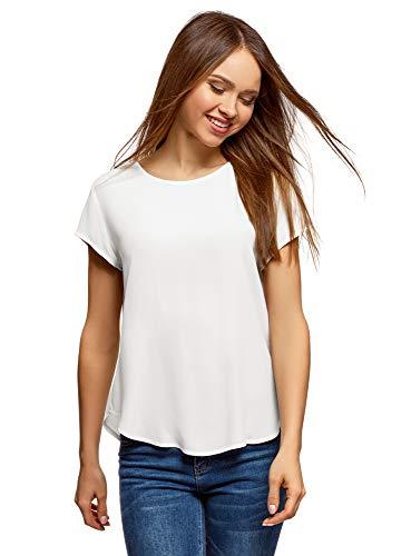 oodji Ultra Damen Lässige Bluse mit Tropfenausschnitt am Rücken, Weiß, DE 38 / EU 40 / M