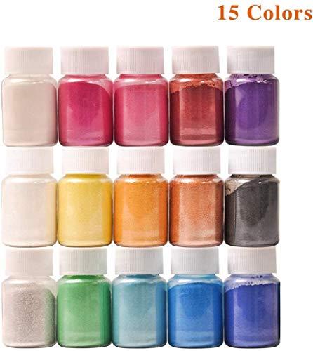 DEWEL 150g(15 farbe x10g)Farbe Metallic,Epoxidharz Farbe Seifenfarbe Set Pigment Mica Pulver Slime Powder für DIY Klebepigmente Badebombenfarben Seifenherstellung Make-up und helle Nailart-Kerzen etc