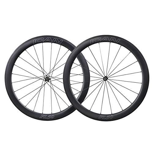 700C 50mm Carbono Carretera Bicicleta Ruedas Clincher Tubele