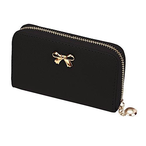 Bow Short Wallet, Paymenow Women Korean Cute Bowknot Purse Solid Wearable Short Wallet Handbag (Black)