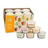 LANANA- Pack de 12 tarritos ecológicos frescos 2 de cada variedad de 190 g de frutas (Aguacate, Caribe, y Tropical) y verduras (Sweet Pot, Brócoli y Calabaza).