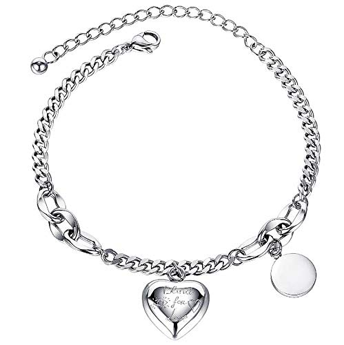 Gleamart Inspirational Adjustable Heart Bangle Bracelet for Women