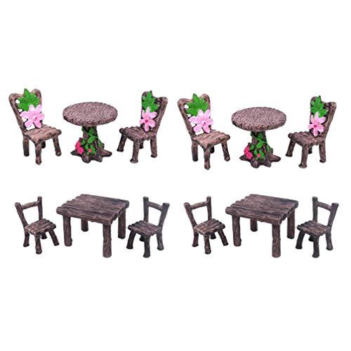 Cabilock 4 Juegos de Adornos de Jardín en Miniatura Mini Mesa Silla Muebles Jardín de Hadas Paisaje Bonsai Estatuillas Adorno de Mesa para Jardín de Hadas Casa de Muñecas Decoración de