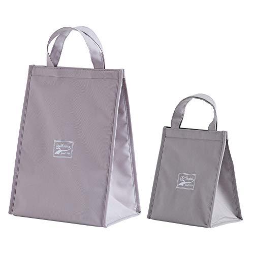 保温 保冷 バッグ 折りたたみ 袋 トートバッグ 防水 大容量 便利 軽量 通勤 通学用 男女兼用 2個セット(大+小)