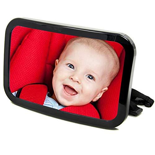 CAPTIANKN kinderwagen achteruitkijkspiegel display - groot veldzicht acryl 360° draaibaar stabiel universeel model zwart
