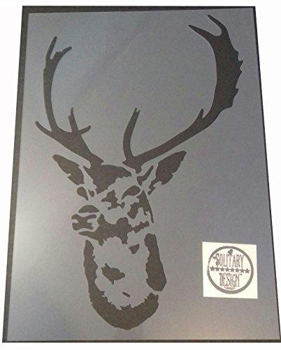 Solitarydesign Shabby Chic Hirschkopf-Schablone, groß, Vintage-Stil, A4, 297 x 210 mm, für Wand oder Möbel