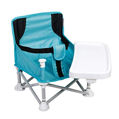 VEEYOO Travel Booster Seat with Removable Tray - Compact Folding Portable High Chair for Dining, Camping, Park, Beach or Grandma, Easy to Go with Carrying Bag, (Turquoise)
