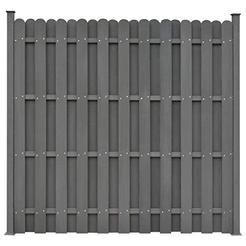 Festnight WPC Sichtschutzzaun Gartenzaun Windschutz Zaun mit 2 Pfosten 180 x 180 cm Quadratisch Grau