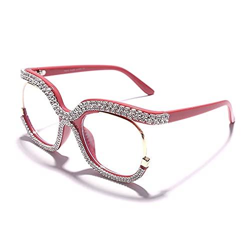 NIUBKLAS Monturas de gafas ópticas cuadradas retro para hombres y mujeres, lentes transparentes, montura de anteojos, gafas de diamante 5