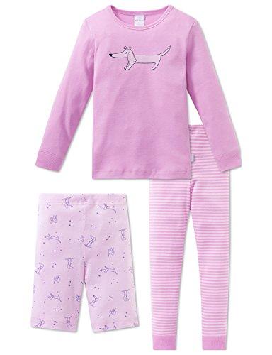 Schiesser Mädchen Schlafanzug Puppy Love Md 3-Teiliger Anzug, Rot (Rosa 503), 116