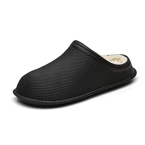 KIKIGO Zapatillas de casa para Hombre,Zapatillas de Interior de algodón Impermeables para Hombre en Invierno, Zapatos cómodos para el Ocio en casa y el Dormitorio.-Negro_46