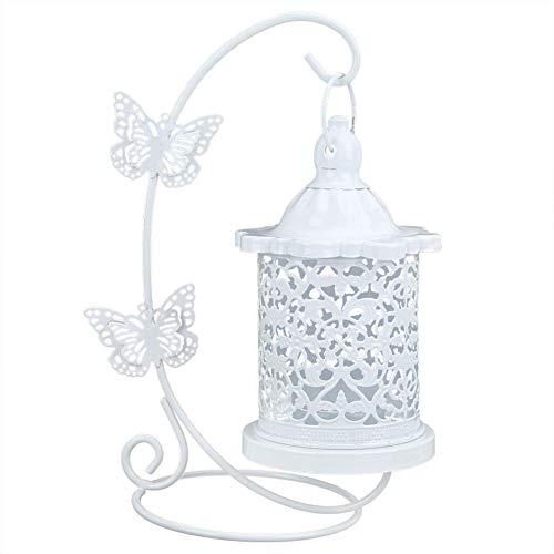 Huakii Sostenedor de Vela de la Jaula de pájaros, sostenedor de Vela de Hierro Hueco del hogar para la decoración Colgante Linterna Colgante de la Jaula de pájaros